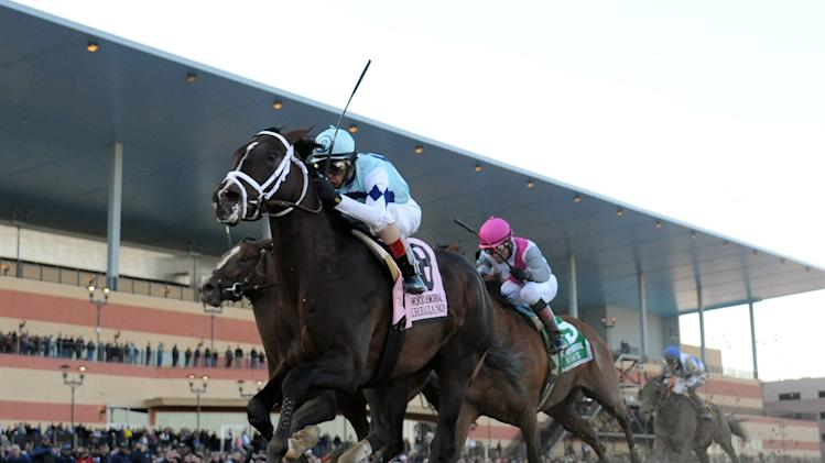 In this photo provided by the New York Racing Association, Verrazano, foreground, with John Velazquez aboard, captures The Grade I Wood Memorial stakes horse race at Aqueduct Race Track in New York, Saturday, April 6, 2013. Normandy Invasion was second and Vyjack was third. (AP Photo/New York Racing Association)
