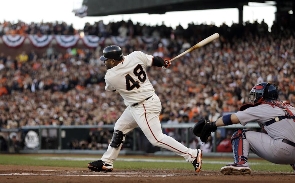 San Francisco Giants' Pablo Sandoval hits an RBI single during the second inning of Game 6 of baseball's National League championship series against the St. Louis Cardinals Sunday, Oct. 21, 2012, in San Francisco. (AP Photo/Ben Margot)