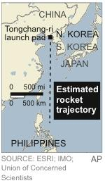 Map locates the estimated trajectory of the rocket North Korea says it will launch