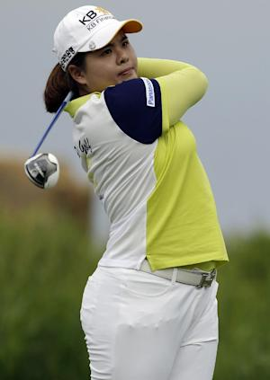 Inbee Park, of South Korea, tees off on the 16th hole during the first round of the U.S. Women's Open golf tournament at the Sebonack Golf Club Thursday, June 27, 2013, in Southampton, N.Y. (AP Photo/Frank Franklin II)