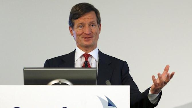CEO Dougan of Swiss bank Credit Suisse addresses a news conference in Zurich