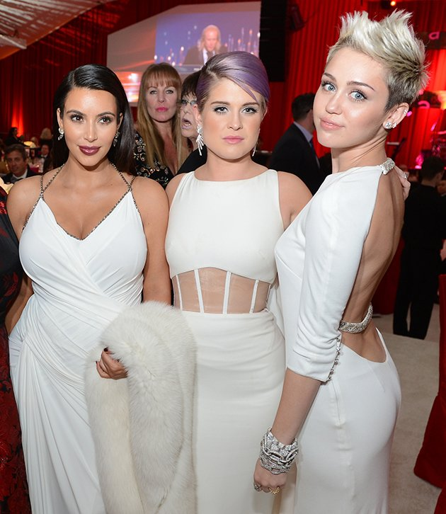 and Miley Cyrus all wore white gowns to Elton John's Oscars 2013