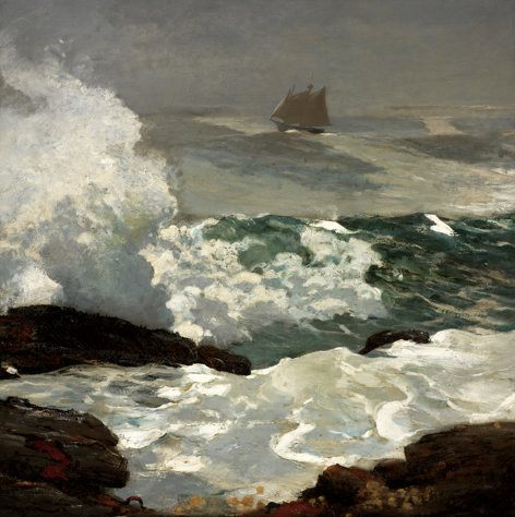 "This image provided by the Portland, Maine, Museum of Art shows Winslow Homer's oil on canvas painting ""On a Lee Shore,"" created in 1900 at his seaside home in Scarborough, Maine. The home where Homer lived and worked from 1883 until his death in 1910, has been restored by the Portland Museum of Art. It will be open for public tours in late September 2012. (AP Photo/Portland Museum of Art)"