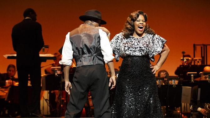 """This theater image released by Helene Davis Public Relations shows Amber Riley during a performance in """"Cotton Club Parade,"""" running through Nov. 18, at New York City Center. (AP Photo/Helene Davis Public Relations, Joan Marcus)"""