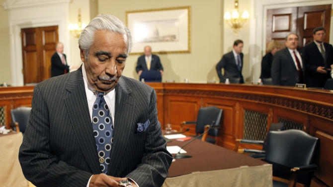 Rep. Charles Rangel, D-N.Y., leaves the House ethics committee room on Capitol Hill in Washington, Thursday, Nov. 18, 2010. The committee recommended censure for Rangel, suggesting that the New York Democrat suffer the embarrassment of standing before his colleagues while receiving an oral rebuke by the speaker for financial and fundraising misconduct. (AP Photo/Harry Hamburg)
