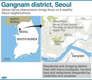 Graphic map showing Gangnam district in the South Korean capital. South Korean rapper Psy has brought his hit &quot;Gangnam Style&quot; home with a raucous free concert in Seoul, capping a month of global chart success that turned the chubby 34-year-old into a national hero