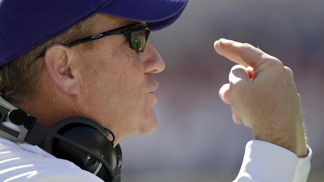 Western Carolina coach Mark Speir yells instructions to his team during the first half of an NCAA college football game against Alabama at Bryant-Denny Stadium in Tuscaloosa, Ala., Saturday, Nov. 17, 2012. (AP Photo/Dave Martin)
