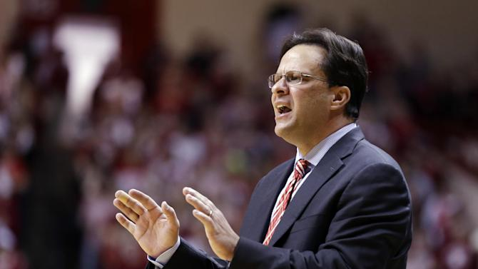 Indiana head coach Tom Creen yells to his team in the second half of a NCAA college basketball game against Purdue in Bloomington, Ind., Saturday, Feb. 16, 2013. Indiana defeated Purdue 83-55. (AP Photo/Michael Conroy)