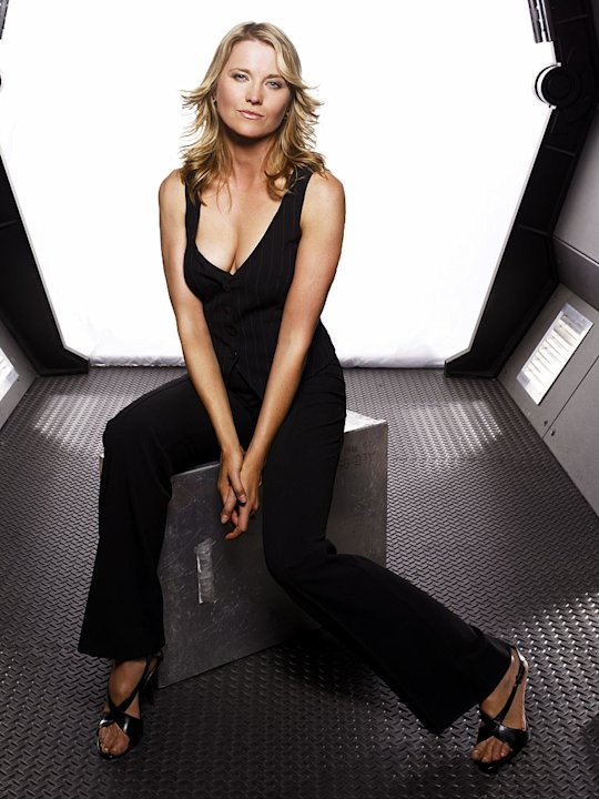 Lucy Lawless as D'anna Biers in Battlestar Galactica on the Sci Fi Channel.