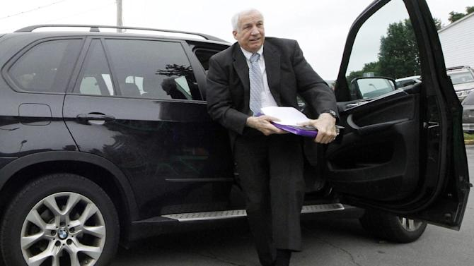 Former Penn State University assistant football coach Jerry Sandusky arrives at the Centre County Courthouse in Bellefonte, Pa., Tuesday, June 19, 2012. Sandusky is charged with 51 counts of child sexual abuse involving 10 boys over a period of 15 years.  (AP Photo/Gene J. Puskar)
