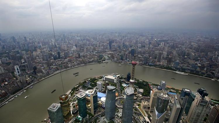 A general view of Shanghai's financial district of Pudong is seen from the top of the Shanghai Tower