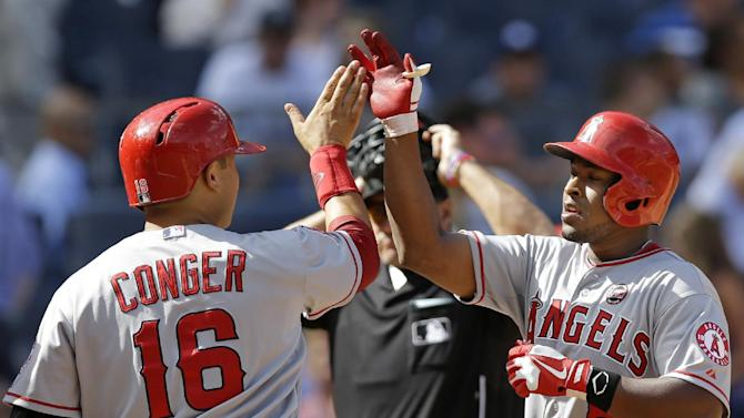 Nelson slams Yanks in return, Angels avoid sweep