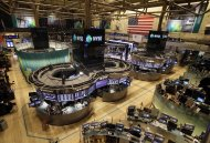 <p>               The floor of the New York Stock Exchange is empty of traders, Monday, Oct. 29, 2012, in New York. All major U.S. stock and options exchanges will remain closed Monday with Hurricane Sandy nearing landfall on the East Coast. Trading has rarely stopped for weather. A blizzard led to a late start and an early close on Jan. 8, 1996, according to the exchange's parent company, NYSE Euronext. The NYSE shut down on Sept. 27, 1985 for Hurricane Gloria. (AP Photo/Richard Drew)