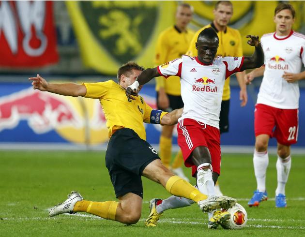 Salzburg's Mane challenges Elfborg's Svensson during their Europa League Group C soccer match in Salzburg