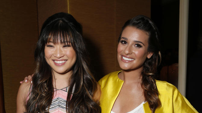 Jenna Ushkowitz and Lea Michele attend the Fox Winter TCA All Star Party at the Langham Huntington Hotel on Tuesday, Jan. 8, 2013, in Pasadena, Calif. (Photo by Todd Williamson/Invision/AP)
