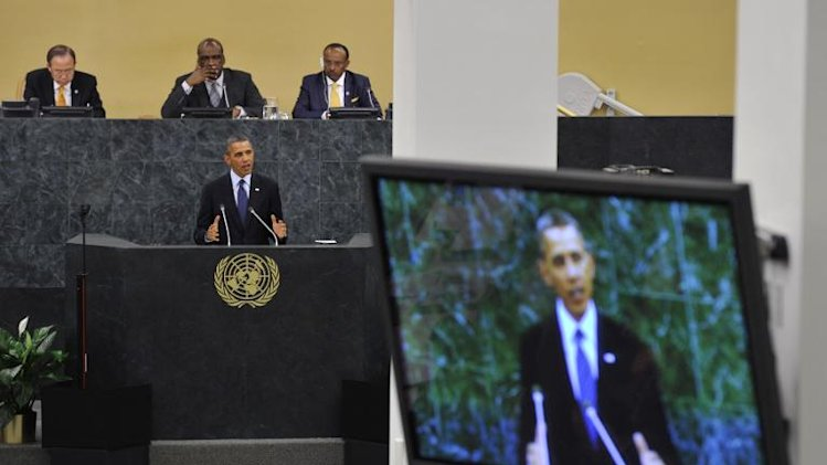 US President Barack Obama addresses delegates of the United Nations General Assembly at the United Nations in New York on September 24, 2013
