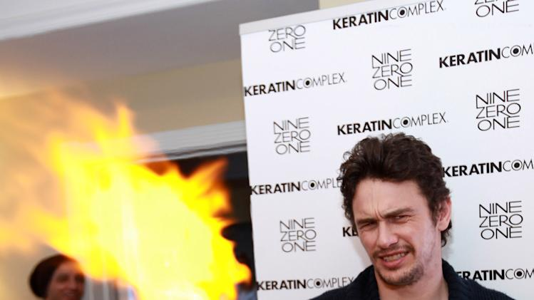 Actor James Franco visits the Keratin Complex pop-up salon at the Fender Music lodge during the Sundance Film Festival on Sunday, Jan. 20, 2013, in Park City, Utah. (Photo by Barry Brecheisen/Invision for Fender/AP Images)