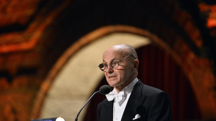 Nobel economics laureate Fama addresses the traditional Nobel gala banquet at the Stockholm City Hall
