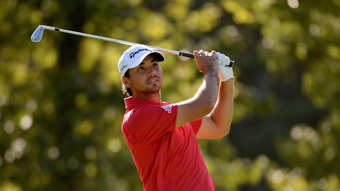 Jason Day takes his second shot on the 13th hole during the second round of the Deutsche Bank Championship on August 30, 2014 in Norton, Massachusetts