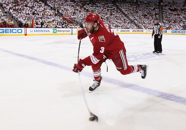 Keith Yandle #3 Of The Phoenix Coyotes Shoots The Puck Against The Nashville Predators In Game One Of The Western Getty Images