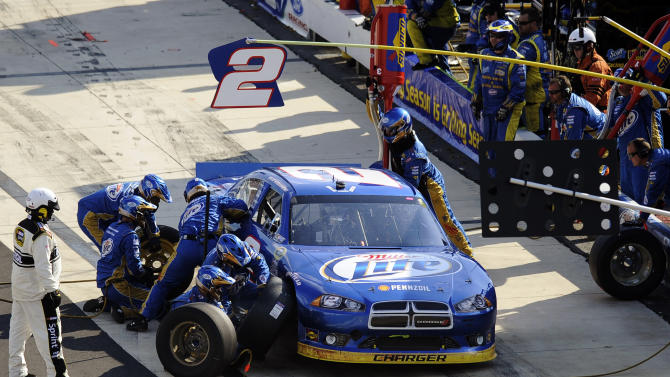 Brad Keselowski pits during the NASCAR Sprint Cup Series auto race, Sunday, Sept. 30, 2012, at Dover International Speedway in Dover, Del. (AP Photo/Nick Wass)