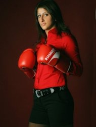 Undated photo shows Germany&#39;s former boxing world champion Rola El-Halabi in the southern German city of Ulm. The Beirut-born boxer, who now lives in Ulm, Bavaria, says she had plenty of motivation to fight again