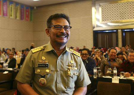 South Sulawesi governor Syahrul Yasin Limpo is pictured before meeting with legislative members in Makassar