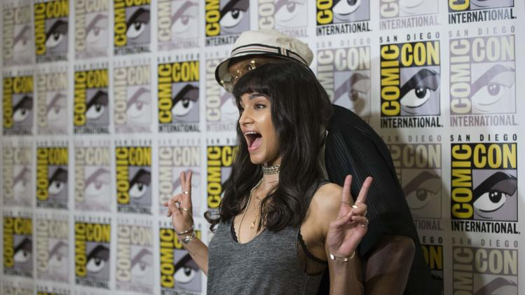 "Cast member Boutella poses with co-star Jackson at a press line for ""Kingsman: The Secret Service"" during the 2014 Comic-Con International Convention in San Diego"