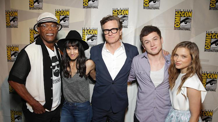 Samuel L. Jackson, Sofia Boutella, Colin Firth, Taron Egerton and Sophie Cookson seen at Twentieth Century Fox Panel at 2014 Comic-Con on Friday, July 25, 2014, in San Diego, Calif. (Photo by Eric Charbonneau/Invision for Twentieth Century Fox/AP Images)