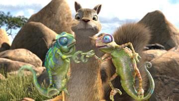 Benny the Squirrel (voiced by James Belushi ) between Cloak and Camo the Chameleons in Walt Disney Pictures' The Wild