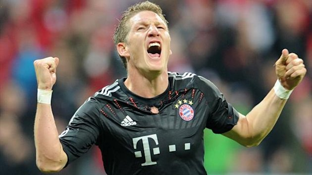 Munichs Bastian Schweinsteiger celebrates his goal during the UEFA Champions League
