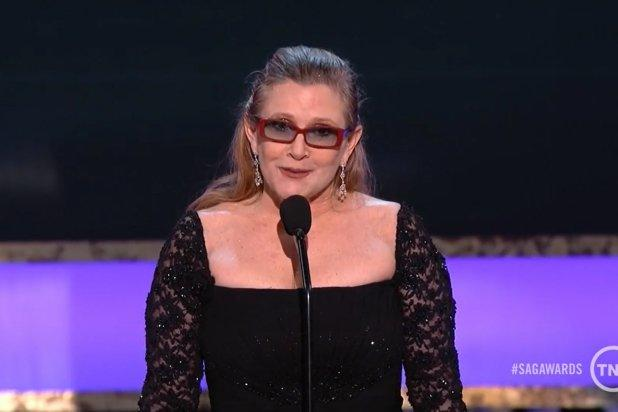 Carrie Fisher Honors Mom Debbie Reynolds With Touching, Funny Tribute at 2015 SAG Awards (Video)