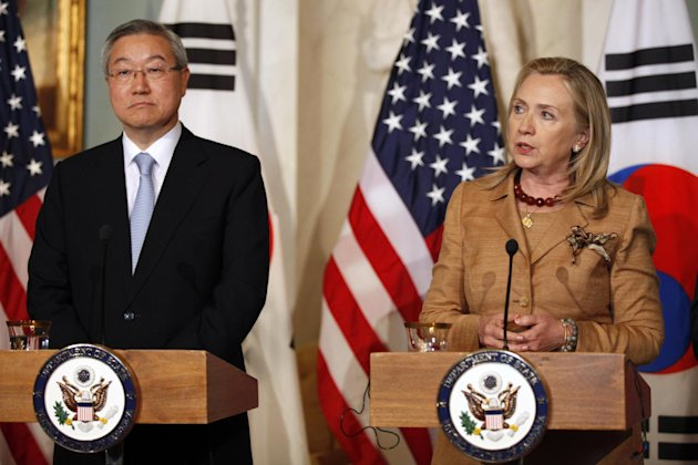 Secretary of State Hillary Rodham Clinton meets with South Korea's Foreign Affairs and Trade Minister Kim Sung-Hwan, at the State Department in Washington, Thursday, June 14, 2012. (AP Photo/Jacquelyn Martin)