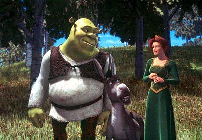 The ogre Shrek ( Mike Myers ) and his donkey sidekick ( Eddie Murphy ) approach the end of their journey with Princess Fiona ( Cameron Diaz ), who has been hiding a deep, dark secret in Dreamworks' Shrek