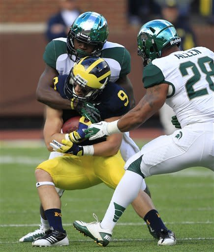 No. 23 Michigan tops Michigan State 12-10 on GW FG