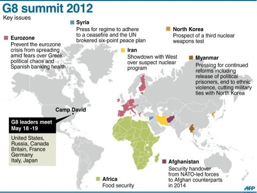 Graphic map showing key areas of the world under discussion at the G8 meeting