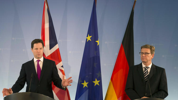 German Foreign Minister Guido Westerwelle, right, and British Deputy  Prime Minister Nick Clegg brief the media after a meeting at the foreign ministry  in Berlin, Thursday, May 24, 2012. (AP Photo/Markus Schreiber)