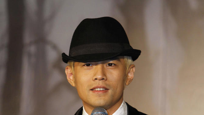 """Taiwan performer Jay Chou speaks during a press conference announcing his new CD """"Opus 12"""" in Taipei, Taiwan, Thursday, Dec. 27, 2012. (AP Photo/Wally Santana)"""