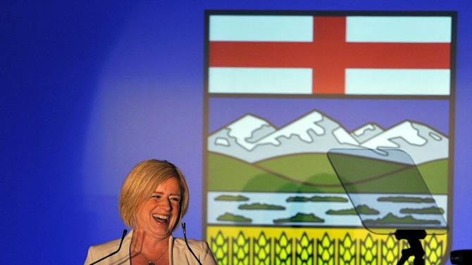 Alberta NDP leader Rachel Notley reacts to election results in Edmonton