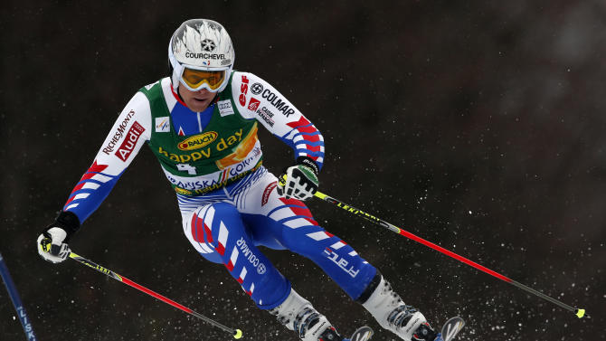 France's Alexis Pinturault competes during an alpine ski, men's World Cup giant slalom, in Kranjska Gora, Slovenia, Saturday, March 9, 2013. Pinturault finished in third place. (AP Photo/Alessandro Trovati)