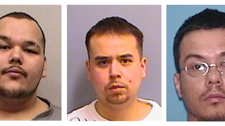 Undated 2012 photos provided by the Minnesota Department of Corrections show Arthur Francis Cree, left, William Earl Morris, center, and a photo provided by the U.S. Marshall's Service shows Wakinyon Wakan McArthur, right. The three members of a violent American Indian gang are accused of being part of a criminal enterprise that used intimidation and violence to keep the gang in power. They will go on trial in Minneapolis on Tuesday. (AP Photos/HO-Minnesota Department of Corrections and U.S. Marshall's Service)