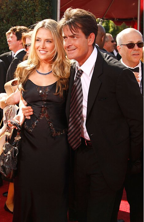 Charlie Sheen and Brooke Mueller arrives at the 59th Annual Primetime Emmy Awards at the Shrine Auditorium on September 16, 2007 in Los Angeles, California.
