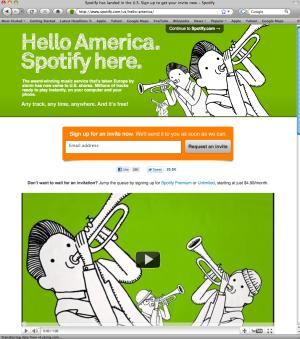 This screen shot shows the home page for Spotify.com. The service brings free, ad-supported access to more than 15 million songs on computers, while ad-free versions of the service cost $5 or $10.(AP Photo)