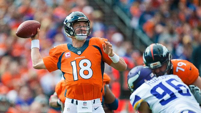 Quarterback Peyton Manning of the Denver Broncos during the game against the Minnesota Vikings on October 4, 2015 in Denver, Colorado