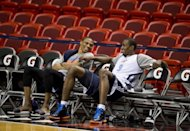 Oklahoma City Thunder players Russell Westbrook (L) and Serge Ibaka attend a practice at the American Airlines Arena in Miami, Florida. The Heat and the Oklahoma City Thunder are preparing for Game 5 of their NBA Finals scheduled for June 21