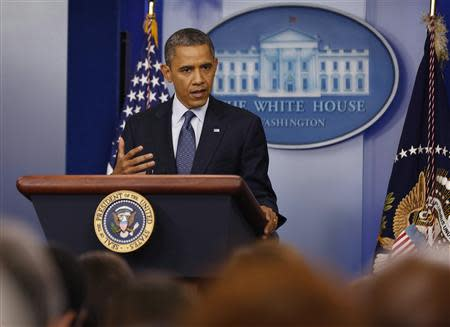 U.S. President Barack Obama speaks to the press in the White House Press Briefing Room in Washington
