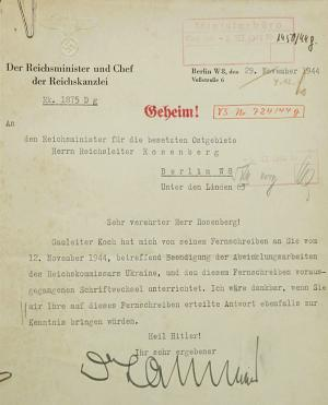 """In this Nov. 29, 1944, image provided by the U.S. District Court of the state of Delaware, a Nazi document is shown. Federal authorities say they have recovered hundreds of pages from the wartime diary of Alfred Rosenberg, a Nazi party official and key adviser to Adolf Hitler. The translation of the document: """"Dear Mr. Rosenberg! Gauleiter Koch informed me of his telegram to you of November 12, 1944 regarding the conclusion of the Reich Commissar Ukraine's shutting-down work, and the correspondence preceding this telegram. I would be thankful if you would also bring to my attention your reply to this telegram, Heil Hitler! The red """"Geheim!"""" in Gothic script at the top means """"Secret!"""" (AP Photo/U.S. District Court of the state of Delaware)"""