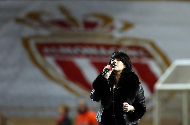 British singer Alex Hepburn performs during the French Ligue 1 soccer match between AS Monaco and Sochaux at Louis II stadium in Monaco
