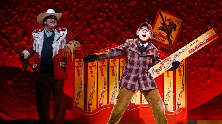 "FILE - This theater image released by Keith Sherman & Associates shows Johnny Rabe during a performance of ""A Christmas Story, The Musical"" in New York. Producers said Monday, June 10, 2013, that the show will play The Bushnell in Hartford, Conn. from Nov. 12-17, The Wang Theatre in Boston from Nov. 20-Dec. 8 and then landing at The Theater at Madison Square Garden from Dec. 11–29. (AP Photo/Keith Sherman & Associates, Carol Rosegg, file)"