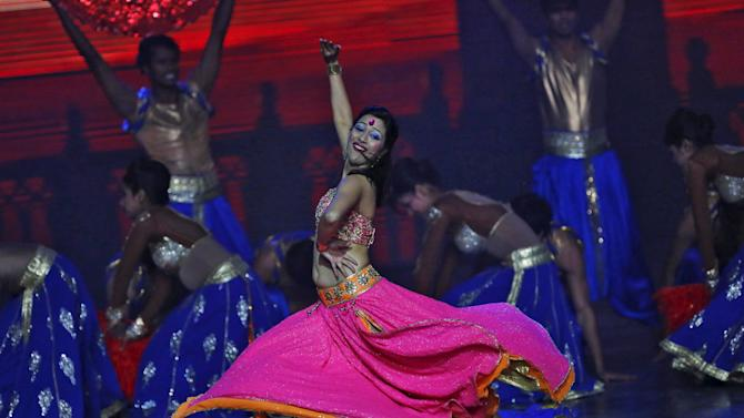 Dancers perform during AFC Annual Awards 2015 in Gurgaon on the outskirts of New Delhi